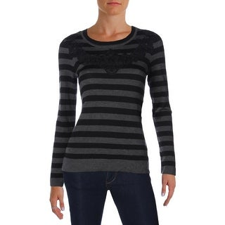 Vince Camuto Womens Crewneck Sweater Lace Overlay Striped