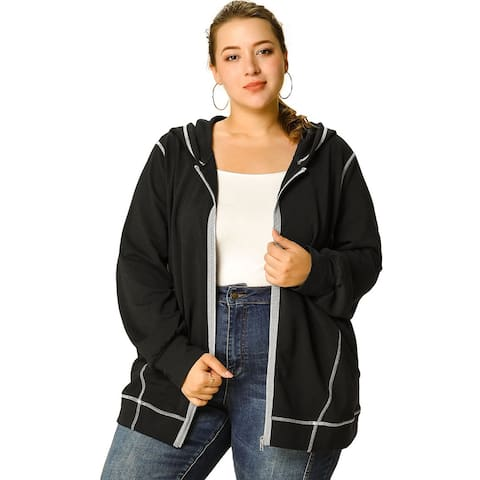 Women's Plus Size Hoodie Zip Front Casual Hoodies with Pockets