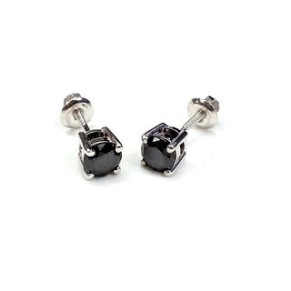 Best Selling, Round Brilliant Cut Genuine Black Diamond Screw Back Stud Earring