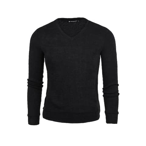 Men's V Neck Long-sleeved Casual Fall Slim Fit Cashmere Sweater