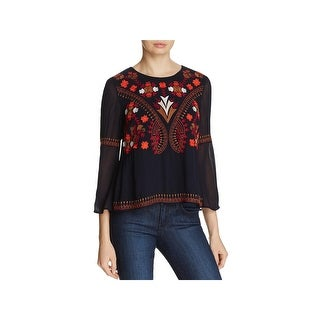 French Connection Womens Crop Top Georgette Embroidered