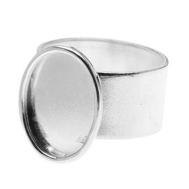 Nunn Design Bright Silver Plated Pewter Small Bezel Oval Adjustable Ring