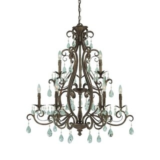 Craftmade 25629 Englewood Three Tier 9 Light Candle Style Chandelier - 34.5 Inches Wide
