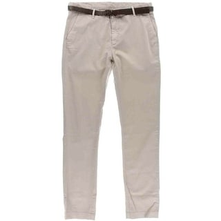Zara Mens Flat Front Belted Casual Pants - 36