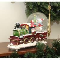"""9.5"""" Santa Claus Christmas Train with Snowman Scene Glitterdome Snow Globe Table Top Decoration - multi"""