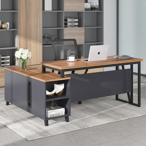 L-Shaped Executive Desk, Computer Office Workstation Desk with File Cabinet Storage, Brown