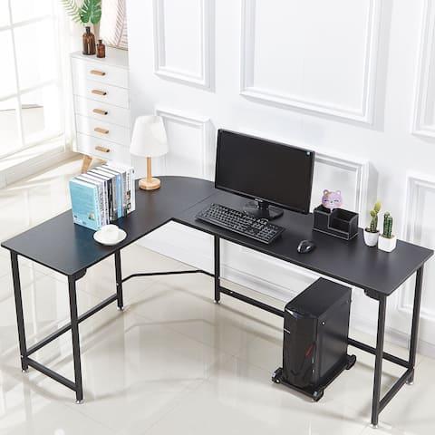 L-Shape Corner Computer Gaming Desk Wood Steel Laptop Table Workstation