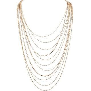Humble Chic Waterfall Jewel Long Necklace Multi-Strand Statement CZ Rhinestone Chains