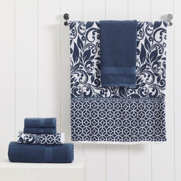 Modern Threads Trefoil Filigree 6 Piece Yarn Dyed Jacquard Towel Set. Opens flyout.