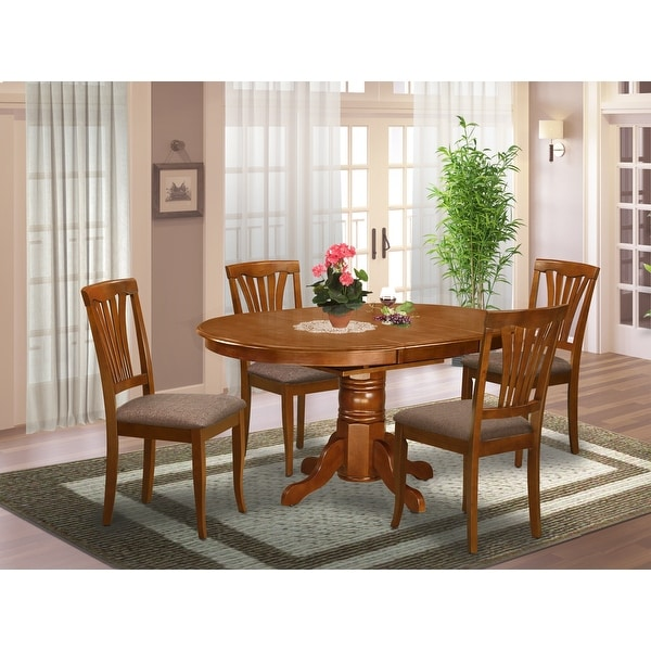 5-piece Set - Oval Table with Leaf and 4 Dining Chairs - Saddle Brown Finish (Pieces Option). Opens flyout.