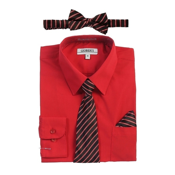 296e947e0c36d Shop Gioberti Boys Red Shirt Necktie Bow Tie Pocket Square 4 Pc Set - Free  Shipping On Orders Over $45 - Overstock - 28296232