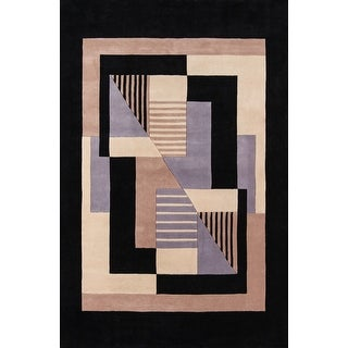 Momeni New Wave Black Hand-Tufted and Hand-Carved Wool Rug (2' X 3')