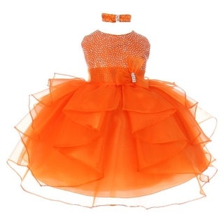 Baby Girls Orange Studded Cascade Ruffle Headband Flower Girl Dress
