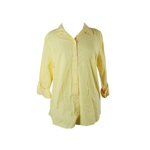 Charter Club Yellow Long-Sleeve Textured Windowpane-Print Shirt 10