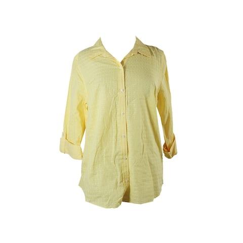 Charter Club Yellow Textured Windowpane-Print Button-Down Shirt 4