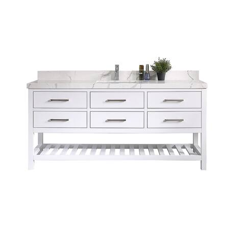 Willow Collections 60 x 22 Santa Fe Single Bowl Sink Bathroom Vanity with 2 in Quartz