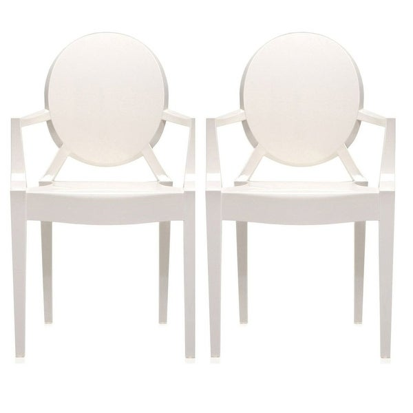 2xhome   Set Of Two (2) White   Modern Plastic Armchair From Polycarbonate  Plastic