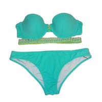 Victoria's Secret 2PC Swimsuit Bikini Set Flirt Bandeau Cheeky Mint/Yellow S-32C - mint - bottom small, bra 32c