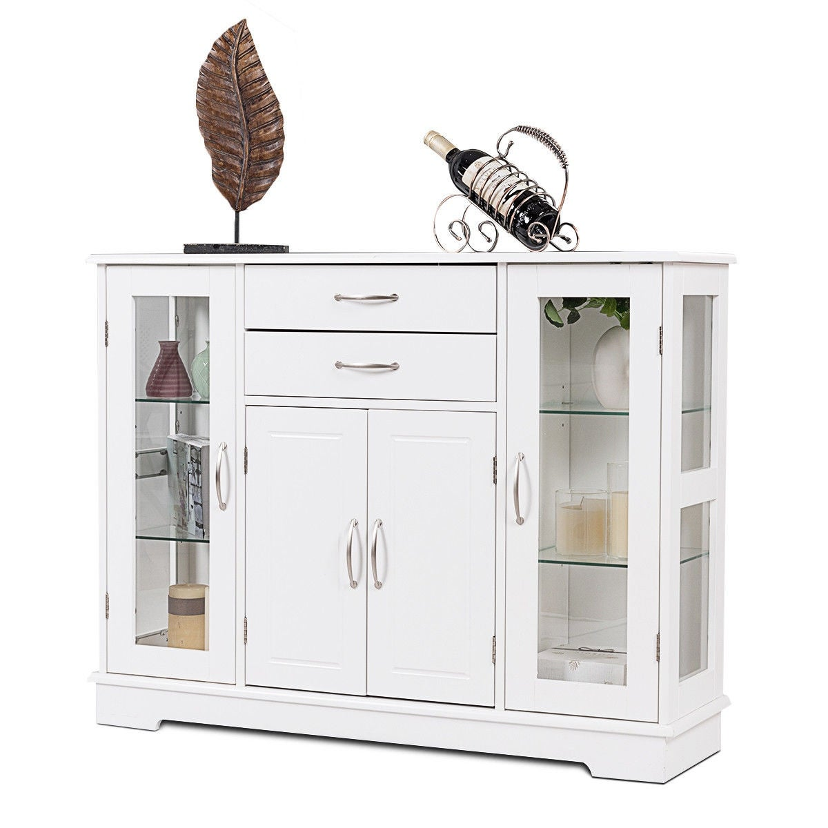 Costway Buffet Storage Cabinet Console Cupboard W Glass Door Drawers Kitchen Dining Room
