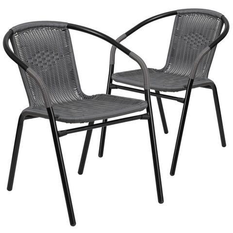 Rattan Indoor-Outdoor Restaurant Stack Chair (Set of 2)