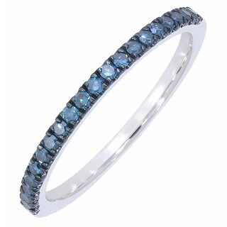 Prism Jewel 0.20Ct Round Blue Color Diamond Stackable Anniversary Band, 1.80mm Wide