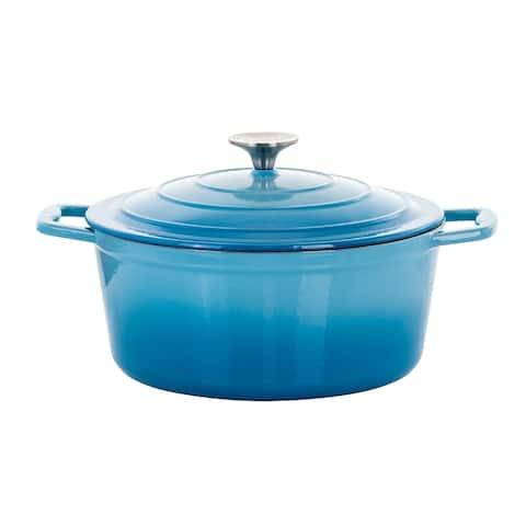 MegaChef 4 Qt Round Cast Iron Casserole Dish w/ Ombre Enamel Coating