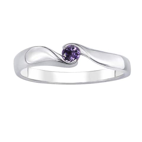 ColorStar Sterling Silver Gemstone Promise Ring