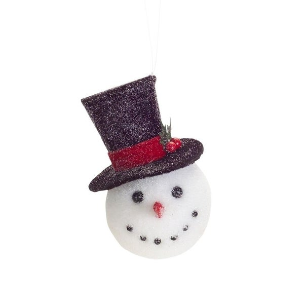 Club Pack of 12 Wintry Snowman Heads with Top Hat Christmas Ornaments 6""