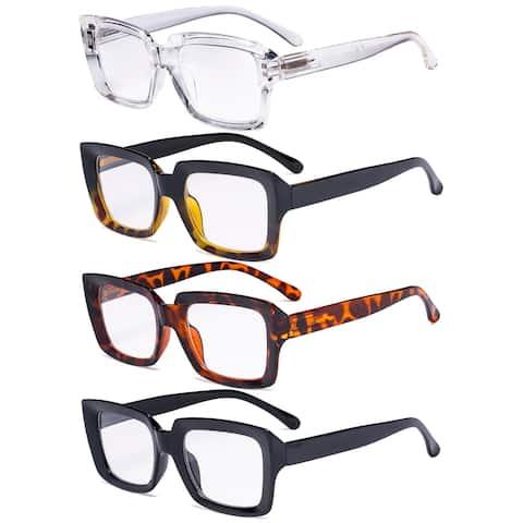Eyekepper 4 Pack Ladies Reading Glasses Square Reader Eyeglasses