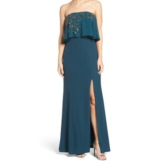 JS Collections NEW Green Womens 14 Embellished Popover Strapless Gown
