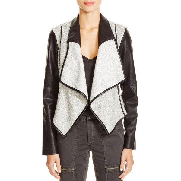 Blank NYC Womens Sofa King Jacket Wool Faux Leather