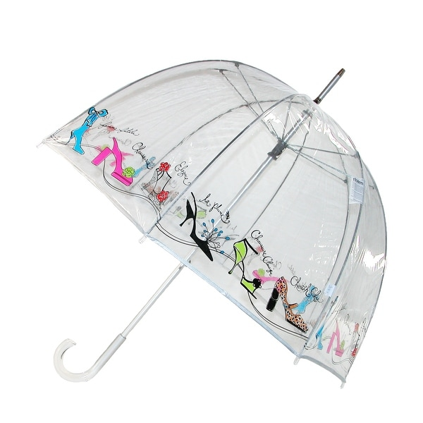 Totes Women's Manual Shoe Print Bubble Stick Umbrella - Clear - One size