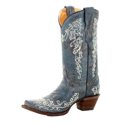 Corral Western Boots Girls Cowboy Leather Outsole Blue