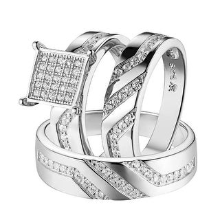 Square Face 3pc Ring Set His & Hers Sterling Silver Simulated Diamond Wedding