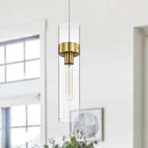 1-Light Hanging Pendant Light with Cylindrical Clear Glass