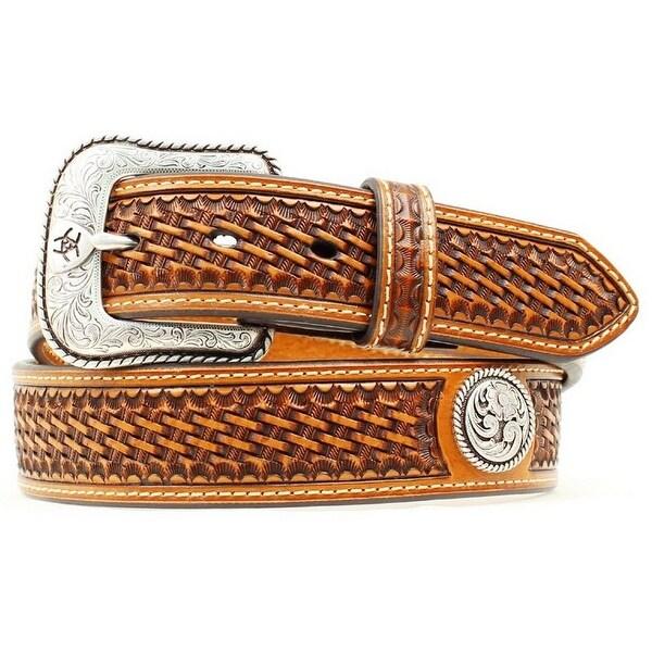 Ariat Western Belt Mens Leather Basket Stamp Conchos Brown