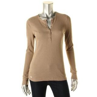 LRL Lauren Jeans Co. Womens Waffle Knit Henley Top - M