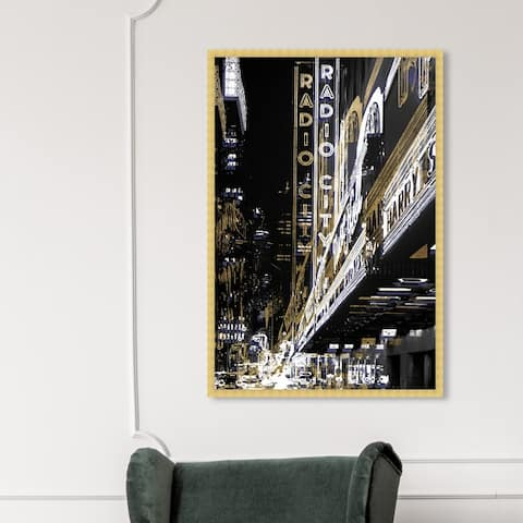 Oliver Gal 'Radio City Music Hall' Cities and Skylines Wall Art Framed Print United States Cities - Gold, Black