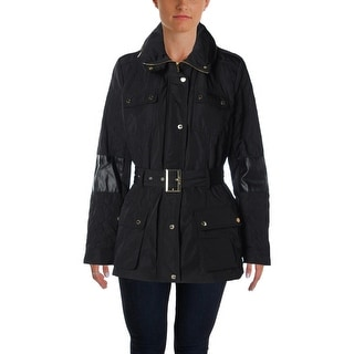 Calvin Klein Womens Quilted Faux Trim Coat