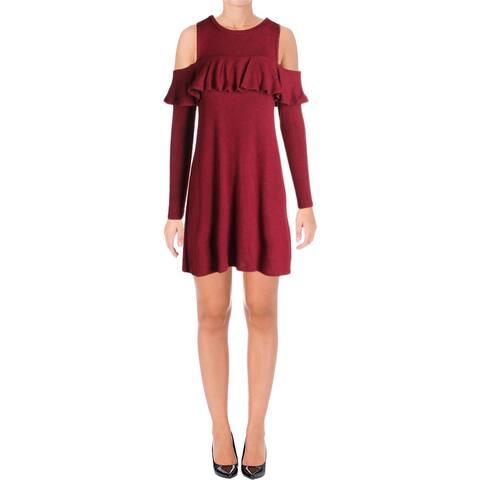 6385534af897 Aqua Womens Casual Dress Ruffled Cold Shoulder