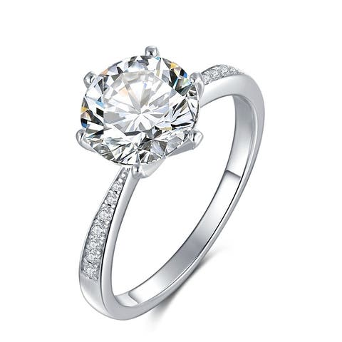 Silver 3 CT Round Moissanite Six Prong Solitaire Engagement Ring with Graduated Cubic Zirconia Accent Stones(Sizes 4.5 to 9)