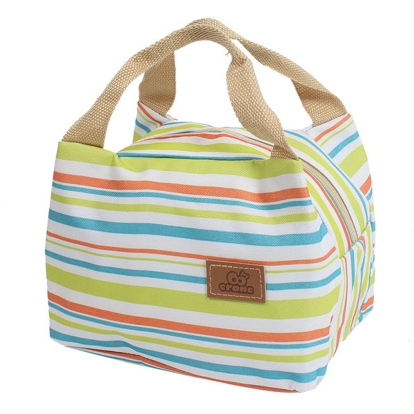 Unique Bargains Canvas Zippered Thermal Insulation Cooler Insulated Lunch Tote Bag Multicolor Stripe Green
