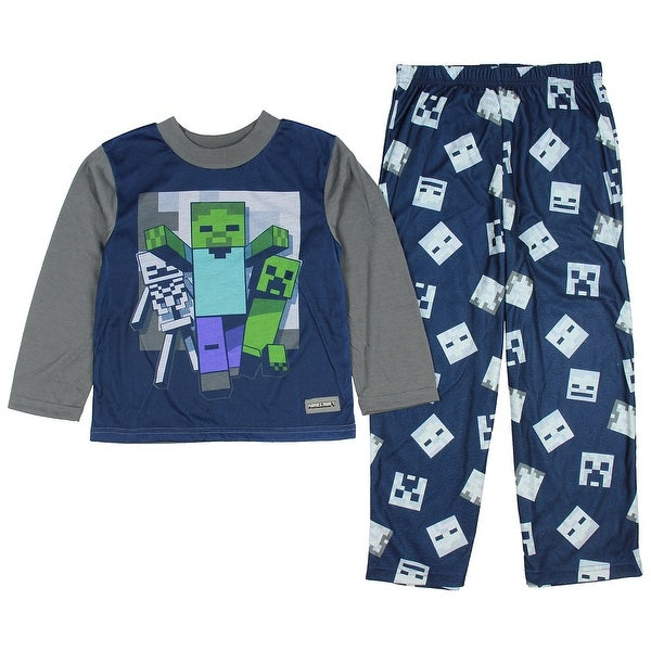 3b34965fb0a7 Shop Minecraft Creeper Zombie and Skeleton Big Boys Blue 2 Piece ...