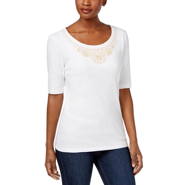 259b8cac Shop Karen Scott Womens Casual Top Beaded-Neck Elbow Sleeves - Free Shipping  On Orders Over $45 - Overstock - 20756042