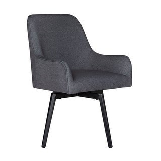 Offex Home Spire Luxe Swivel Dining/Office Chair with Arms and Metal Legs in Charcoal Gray