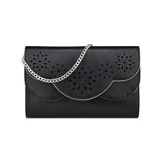 Nine West Womens Ailey Clutch Handbag Faux Leather Laser Cut - Small
