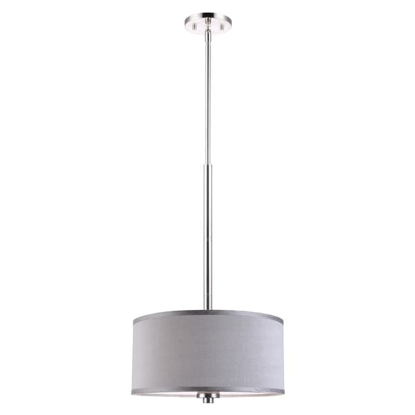 "Woodbridge Lighting 13420STN-S11502 35"" Height 3 Light Drum Pendant with Grey Shade and Satin Nickel Finish"