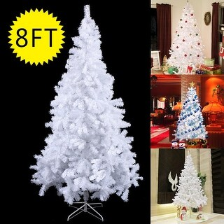 Costway 8Ft Artificial PVC Chrismas Tree W/Stand Holiday Season Indoor Outdoor White