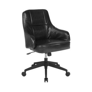 Offex Home and Office Upholstered Mid Back Chair in Black Leather