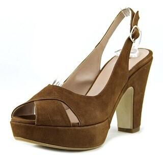Andrea Bernes 329   Open Toe Suede  Platform Heel